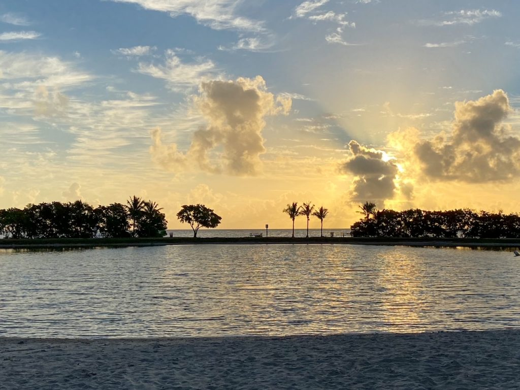watching the sunrise from Homestead Bayfront Park