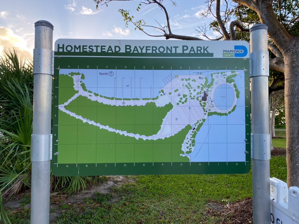 the entrance to Homestead Bayfront Park near Biscayne National Park