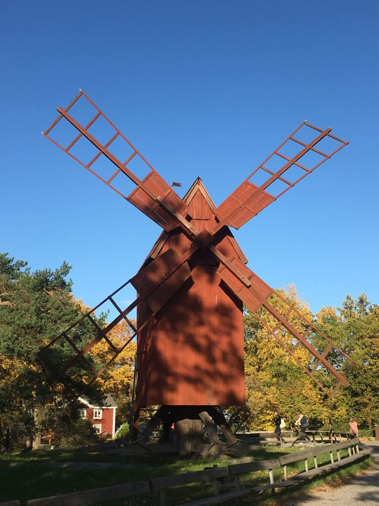 a red windmill at Skansen